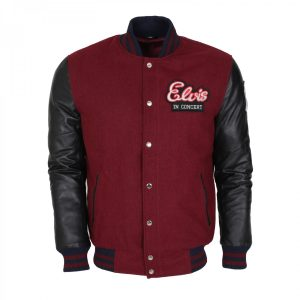 Mens Maroon Vintage Wool Varsity Elvis Presley Leather Jacket Hot Sale 2020 USA UK France