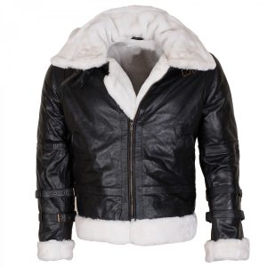Men's Winter Black Shearling B3 Bomber Aviator Leather Jacket