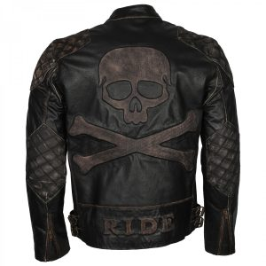 Biker Vintage Distressed Skull Embossed Mens Motorcycle Leather Jacket Free Shipping USA UK Germany France