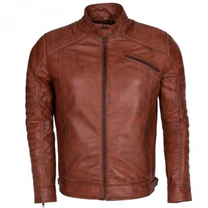 Designer Mens Moto Vintage Brown Leather Biker Jacket on Sale
