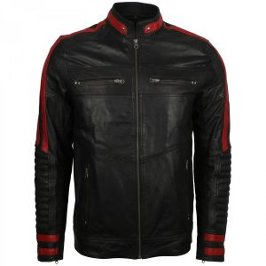 Mens Biker Black Vintage Leather Cafe Racer Jacket for Sale Halloween Christmas Gifts for Him