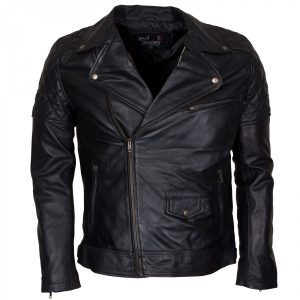 Mens Black Biker Style Marlon Brando Leather Jacket