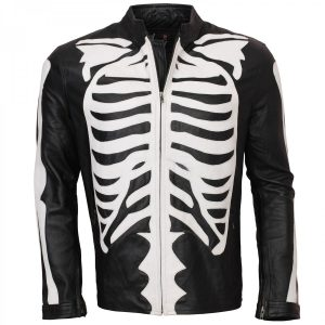 Men's Halloween Fashion Black Biker Skeleton Bones Leather Jacket Hot Sale USA UK lederjacke herren