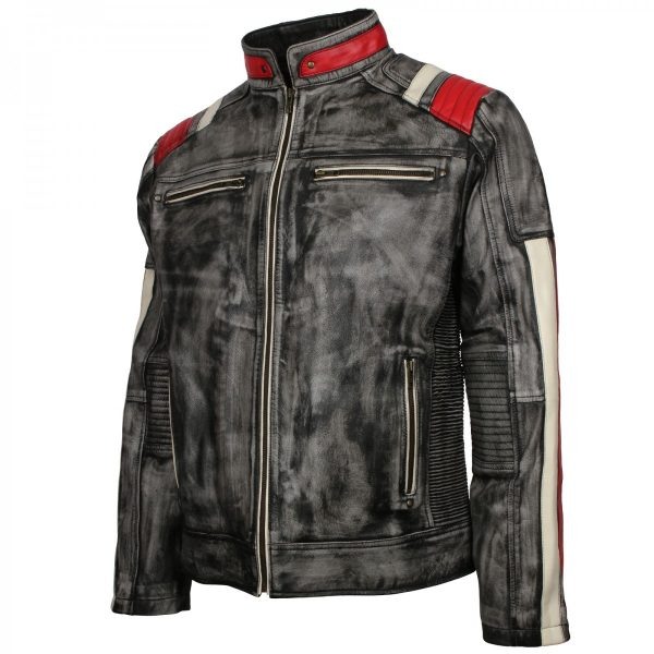Mens Vintage Biker Distressed Grey Retro Leather Motorcycle Jacket