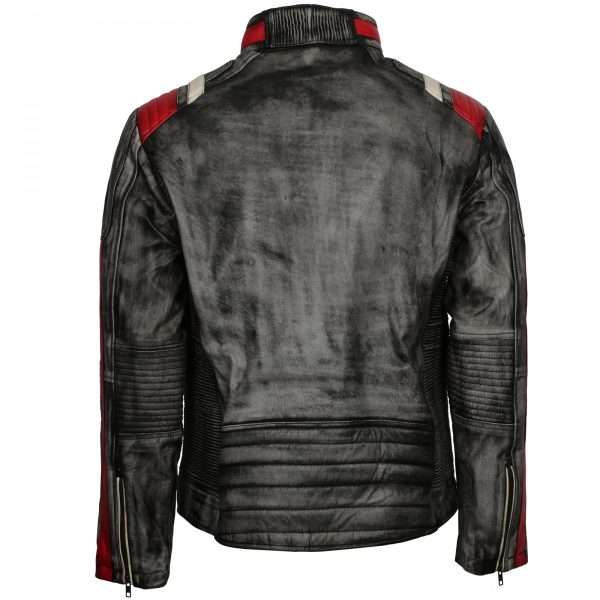 Mens Vintage Biker Distressed Grey Retro Leather Motorcycle Jacket Free Shipping UK, USA Australia