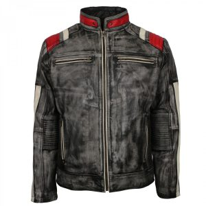 Mens Vintage Biker Distressed Grey Retro Motorcycle Leather Jacket shop now