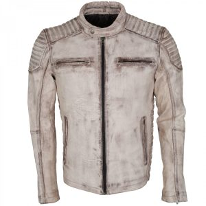 Men's White Waxed Retro Vintage Leather Biker Jacket