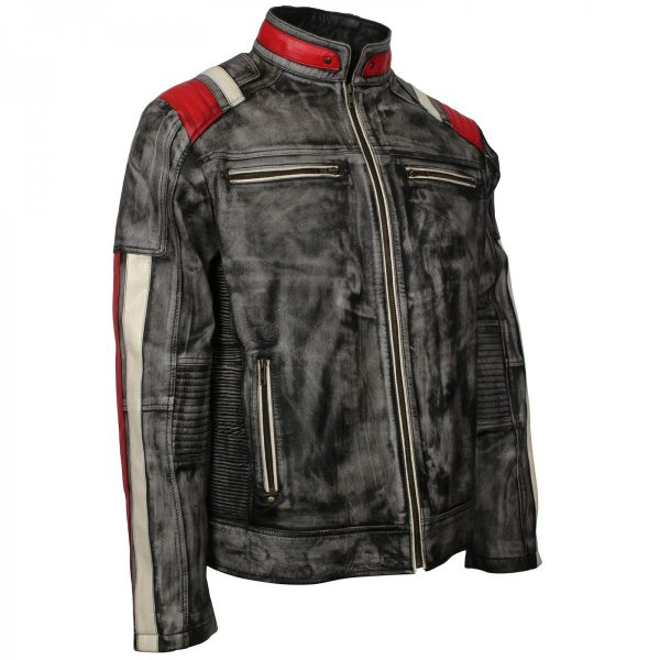 Retro Leather Motorcycle Jacket , Mens Distressed Retro Biker Jacket
