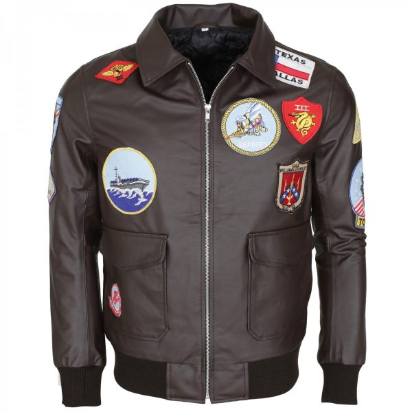Tom Cruise Bomber Aviator Top Gun Brown Leather Jacket Sale Winter Buy Now