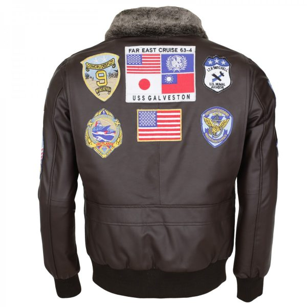 Tom Cruise Bomber Aviator Top Gun Brown Leather Jacket Shop now