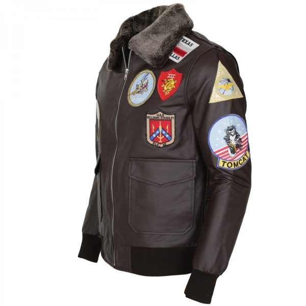 Tom Cruise Bomber Aviator Top Gun Brown Leather Jacket UK USA Australia Free Shipping