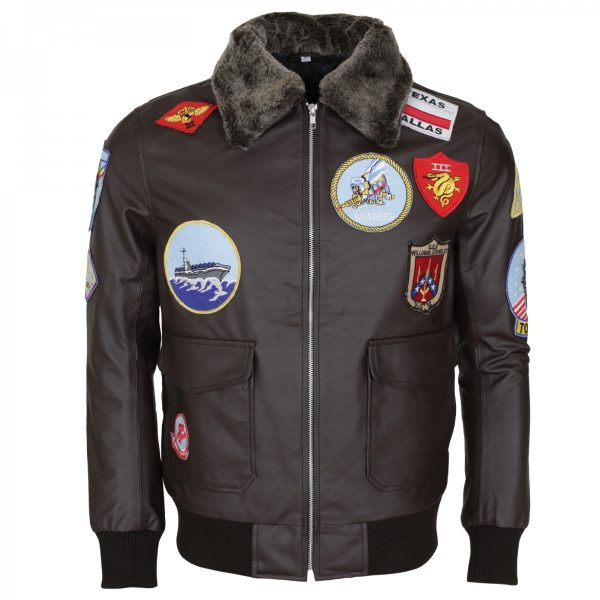 Tom Cruise Bomber Aviator Top Gun Brown Leather Jacket lederjacke herren germany sale