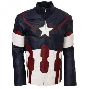 Age Of Ultron Captain America Leather Jacket Avengers Costumes Free Shipping UK USA Canada