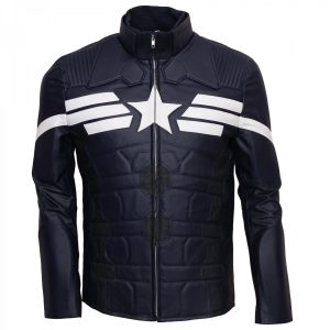 Captain America Leather Jacket Mens Winter Soldier Costume