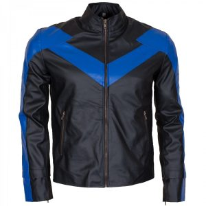 Dick Grayson Nightwing Leather Jacket Batman Cosplay Costume Free Shipping UK USA Australia