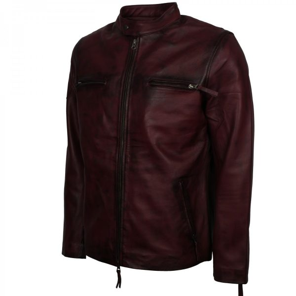 Distressed Maroon Biker Leather Vintage Cafe Racer Jacket Mens