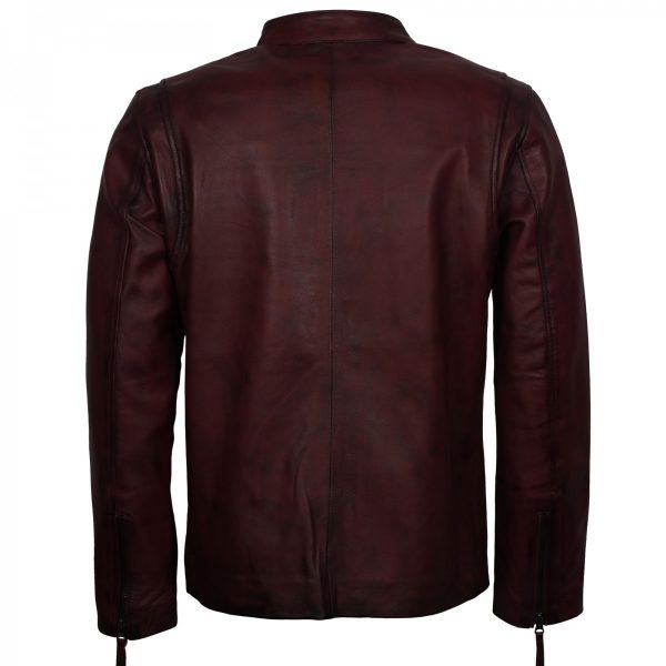 Distressed Maroon Biker Leather Vintage Cafe Racer Jacket Mens Free Shipping UK USA Australia