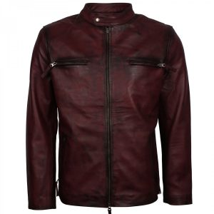 Distressed Maroon Biker Leather Vintage Cafe Racer Jacket Mens Shop now Gifts for Him