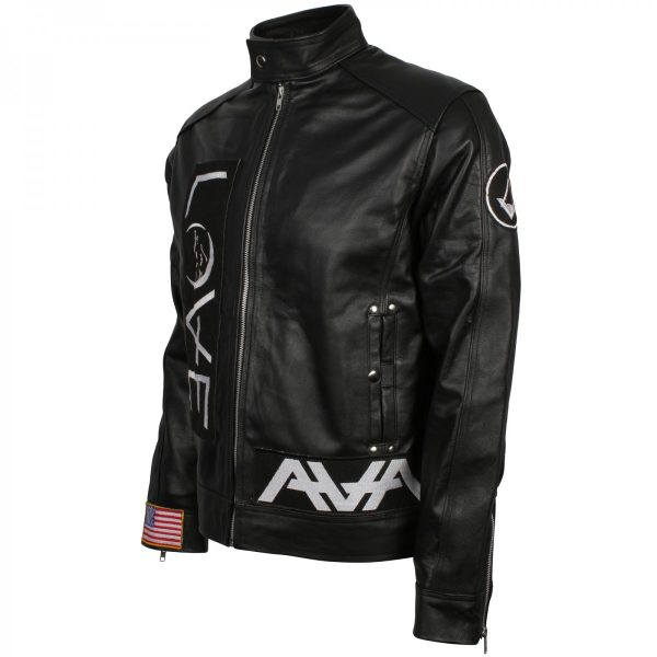 Mens Leather Biker Tom Delonge Love Angels and Airwaves Jacket Free Shipping Cosplay Costume Celebrity