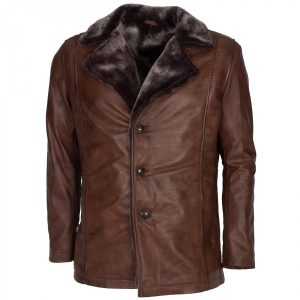 X-Men Origins Wolverine Leather Jacket Brown Shearling Winter Coat