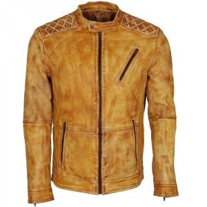 Yellow Waxed Designer Mens Leather Biker Jacket Shop now Gifts for Him this Halloween Winter Sale