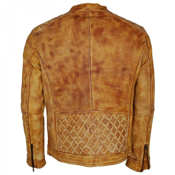 Yellow Waxed Designer Mens Leather Biker Jacket in Cheap price from theJacketMerchant