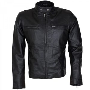 Burnt Bradley Cooper Black Leather Biker Jacket Mens