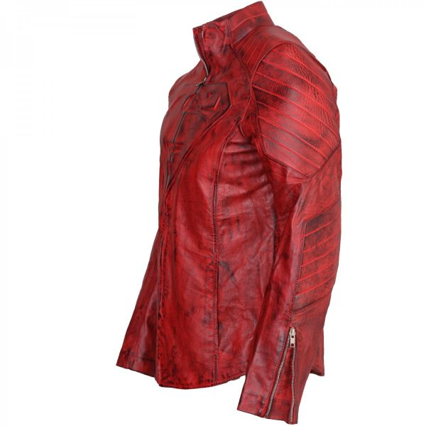 Clark Kent Costume Red Smallville Superman Leather Jacket Gifts for Him Halloween Costume