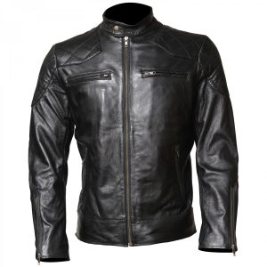 Men's David Beckham Classic Leather Black Biker Jacket Gifts for Him