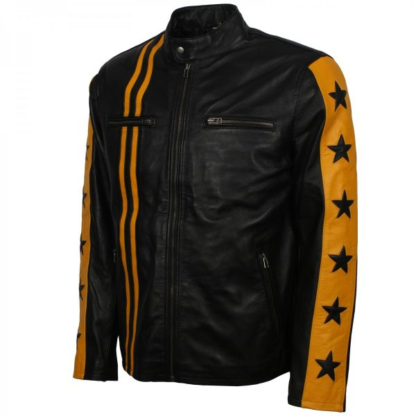 Mens Leather Black Poison Gothic Punk Rave Steampunk Jacket Gifts for Him Halloween Costume