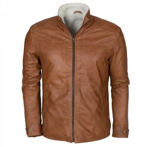 Men's Tan Shearling Designer Leather Jacket Winter Coat