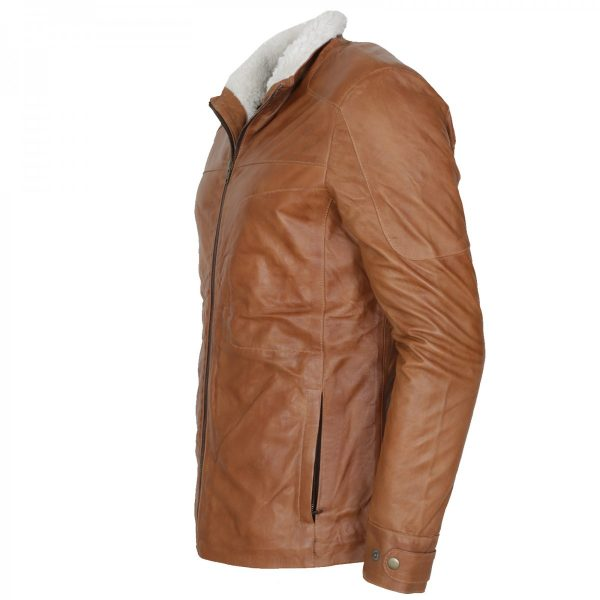 Men's Tan Shearling Designer Leather Jacket Winter Coat Hot Sale UK USA Europe