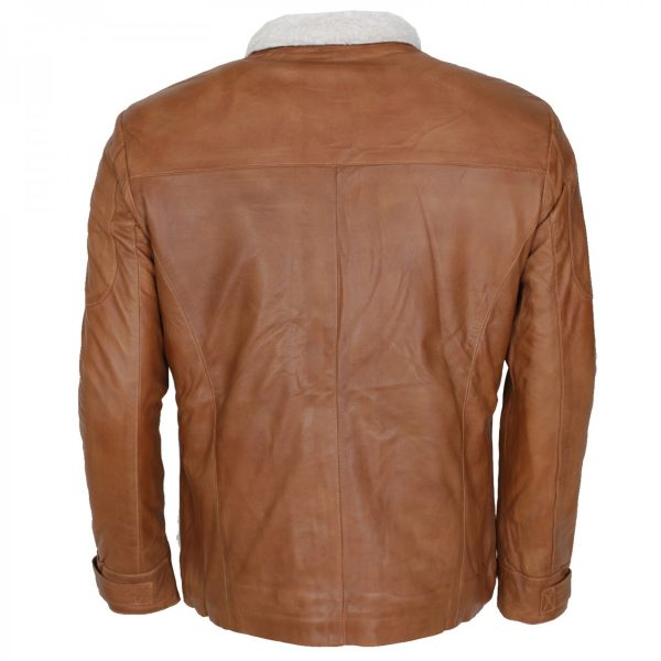 Men's Tan Shearling Designer Leather Jacket Winter Coat Shop now Free Shipping UK USA Europe