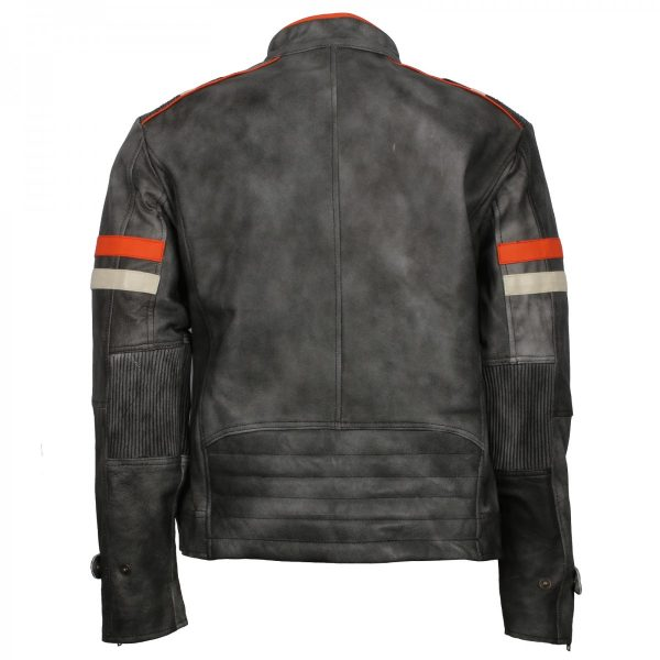Mens Vintage Grey Distressed Leather Retro Motorcycle Jacket Gifts for Him Hot Sale and free Shipping France Germany