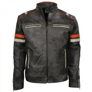 Mens Vintage Grey Distressed Leather Retro Motorcycle Jacket Shop now USA UK Australia online