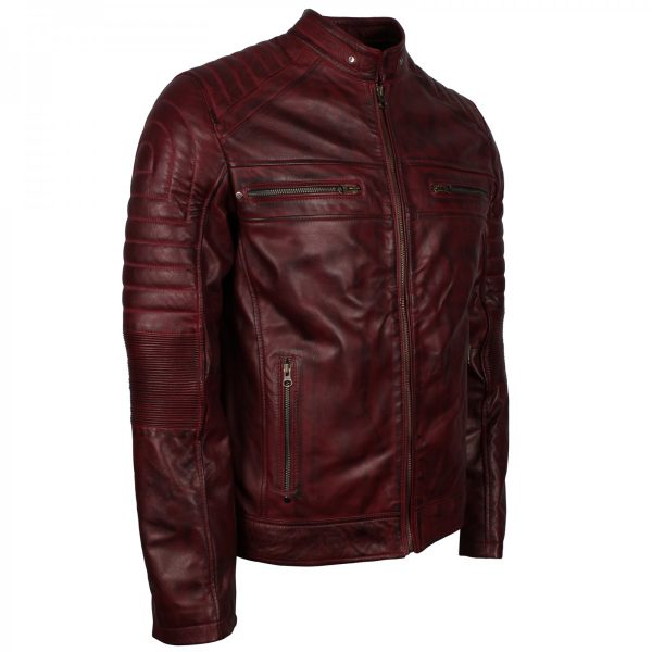 Schott Perfecto Men's Vintage Distressed Leather Cafe Racer Jacket Halloween Sale Gift for Him