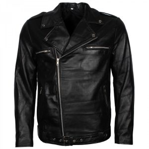 Men's Biker Black The Walking Dead Negan Leather Jacket Free Shipping UK USA Australia Canada