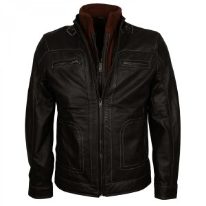 Men's Designer Classic Brown Biker Leather Jacket Gifts for Him Christmas Sale