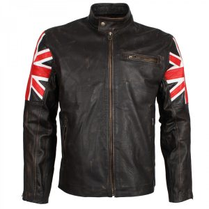 Union Jack Brown Biker Distressed Leather Jacket Mens Free Shipping UK USA Australia Canada
