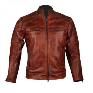 Men's Distressed Brown Biker Vintage Cafe Racer Leather Jacket